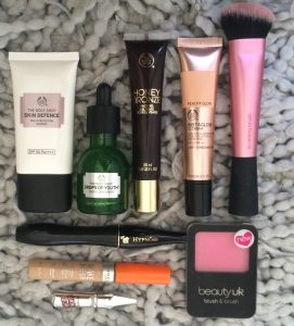 Selection of make up products Becci uses everyday