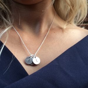 Necklace with the letters C and H on it for Becci's children