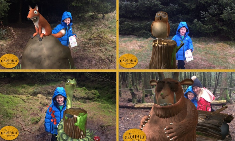 Pictures of Harry going around the Gruffalo Trail