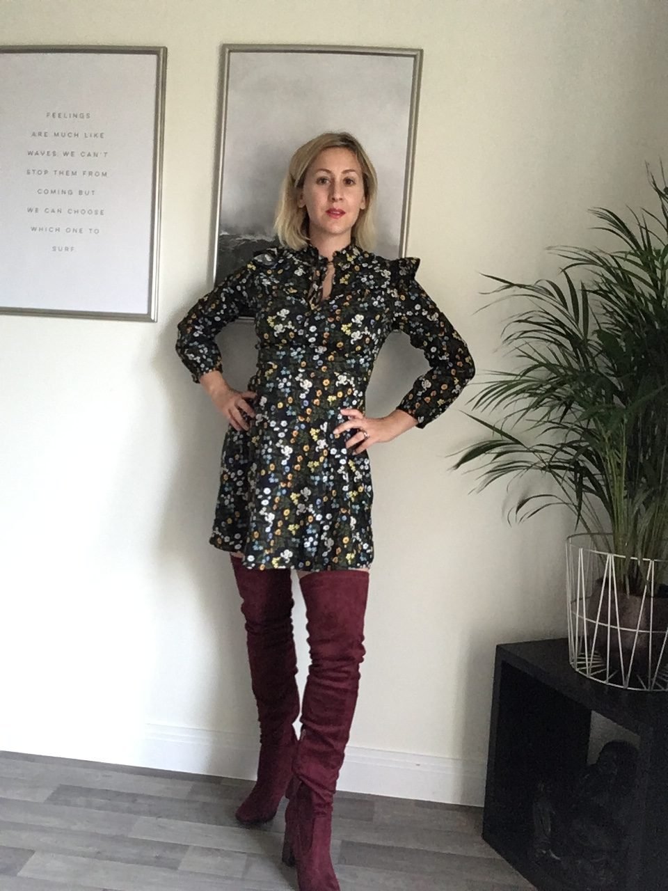 Styling my over the knee boots with a 70's style dress