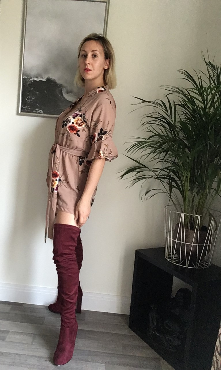 Styling my over the knee boots with a sand coloured playsuit
